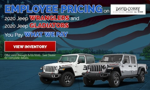 Employee Pricing on 2020 Jeep Wranglers and 2020 Jeep Gladiators
