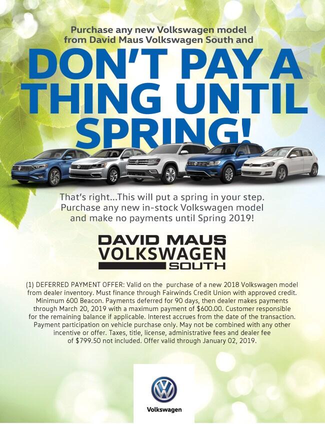 No Payments Until 2019 David Maus Volkswagen South