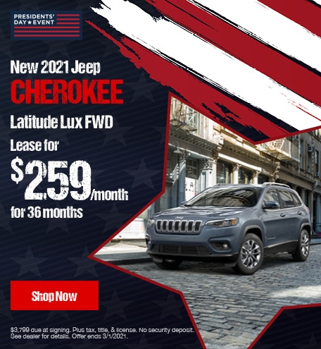 New 2021 Jeep Cherokee Latitude Lux FWD-  February Lease Offer