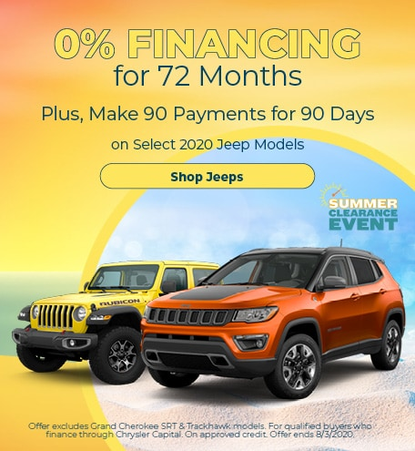 0% Financing for 72 months on select new 2020 Jeeps