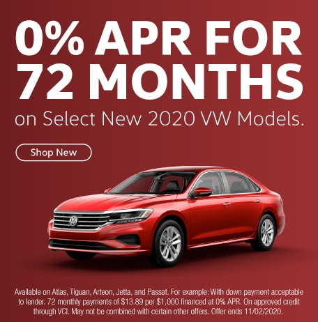 0% APR for 72 Months on Select New 2020 VW Models