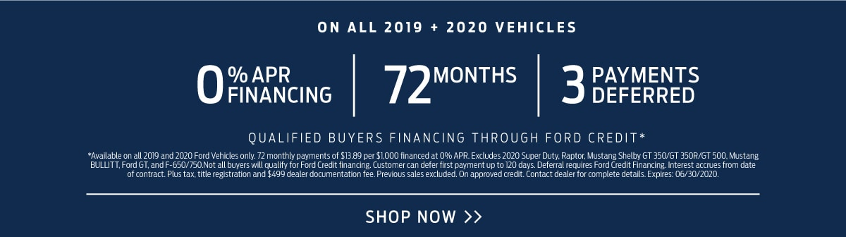 Financing on 2019 + 2020 Vehicles