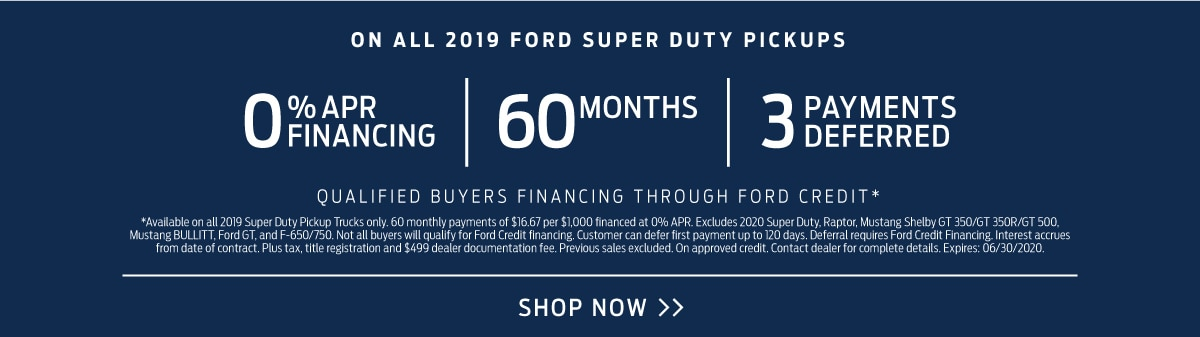 Financing on all 2019 Super Duty Pickups