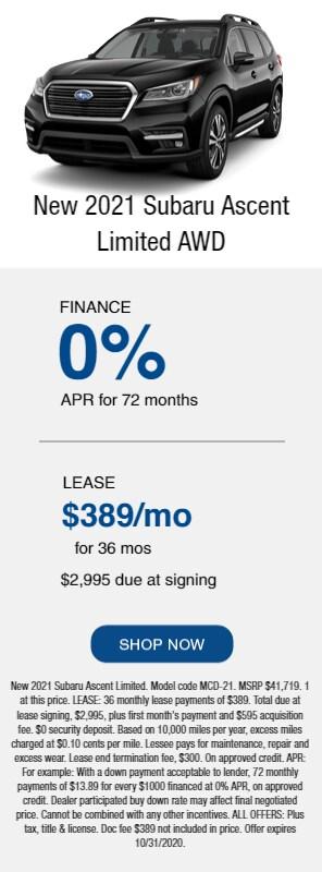 New 2021 Subaru Ascent Limited