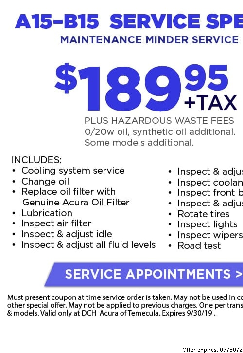 Acura Oil Change Coupon >> Acura Service Coupons Discounts In Temecula Oil Changes Brakes