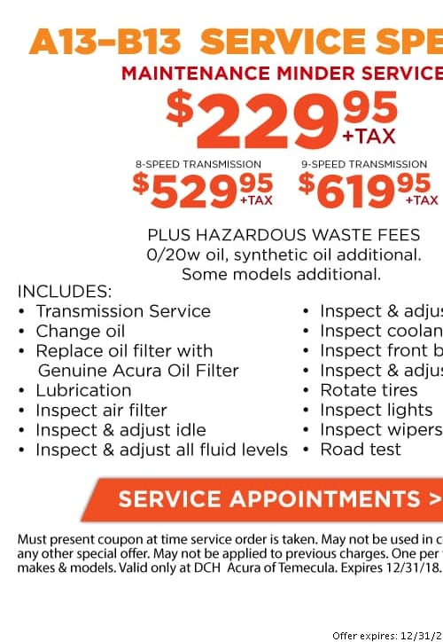 Acura Service Coupons Discounts In Temecula Oil Changes Brakes - Acura dealer service coupons