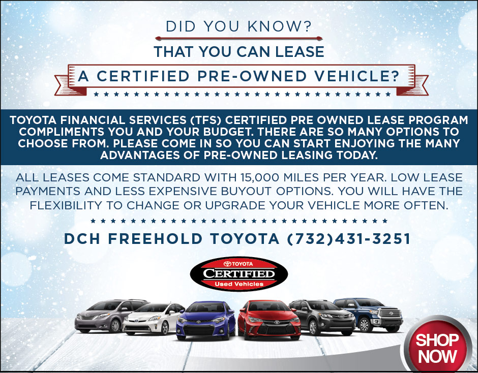Certified Pre Owned Leasing | DCH Freehold Toyota