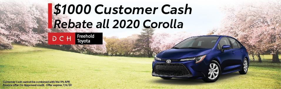 $1000 Customer Cash Rebate all 2020 Corolla