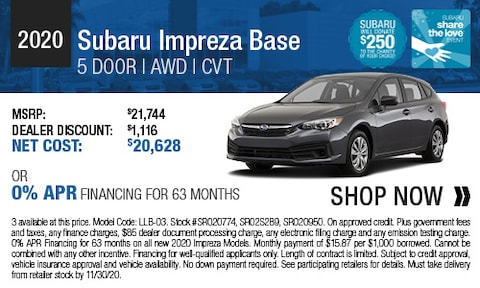 2020 Subaru Impreza Base 5 Door - Purchase & Finance Offers