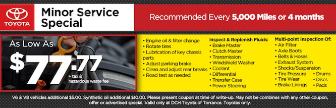 Printable Toyota Oil Change Coupons >> New Toyota Service Specials Toyota Repairs Near Carson Ca