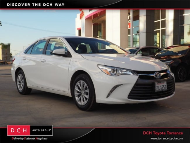 Used 2016 Toyota Camry Sedan Hybrid Le Super White For Sale Near Los