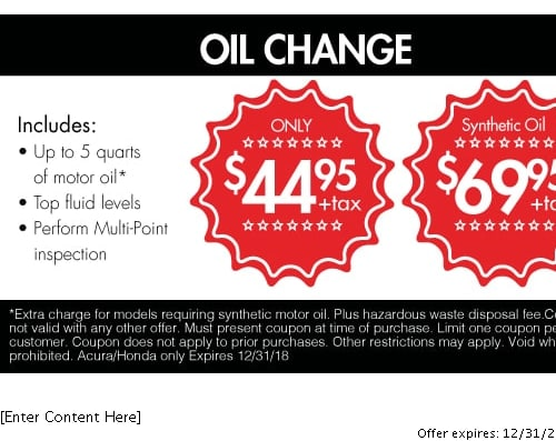 Acura Service Specials Orange County Oil Changes Tire Rotations - Acura coupons oil change