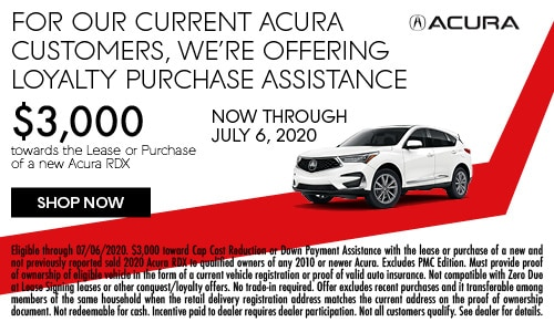 New 2020 Acura RDX Loyalty Cash Offer