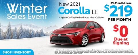 New 2021 Corolla LE 39-Month $219 Per Month