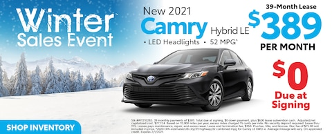 New 2021 Camry Hybrid LE 39-Month Lease $389 Per Month