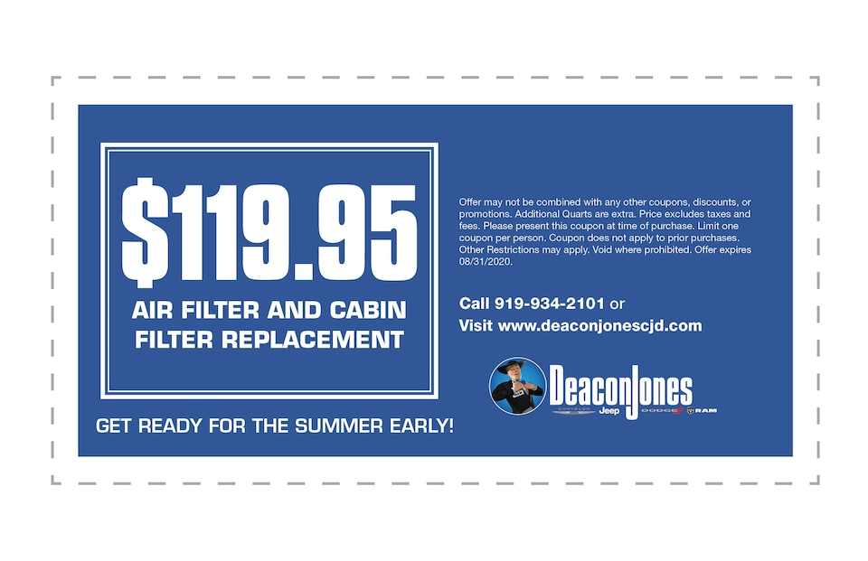 $119.95 Air Filter and Cabin Filter Replacement