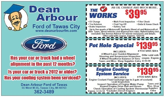 Dean Arbour Ford >> Dean Arbour Service Coupons Dean Arbour Ford Of Tawas Inc