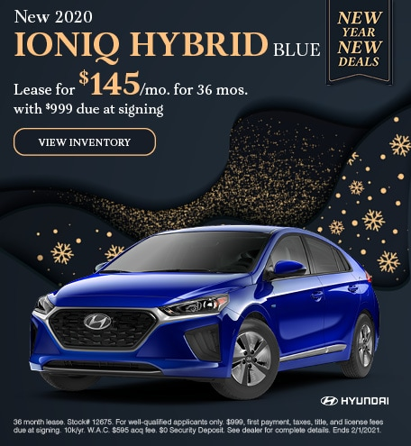 January New 2020 IONIQ HYBRID BLUE Lease Offer