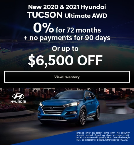 October New 2020 & 2021 Hyundai Tucson Ultimate AWD Offers