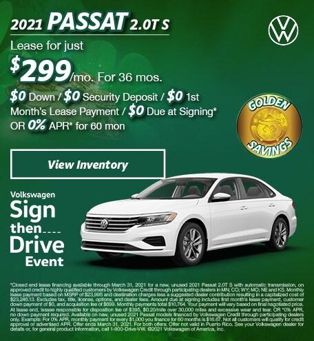 March 2021 Passat 2.0T S Offer