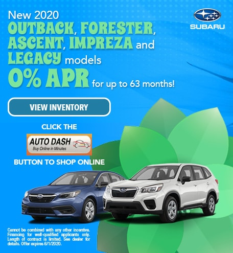 May New 2020 Outback, Forester, Ascent, Impreza and Legacy models Offer