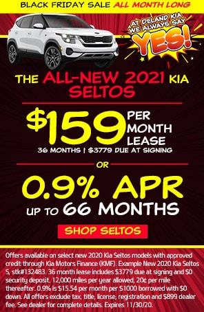 Lease: $189 per month for 24 months. $2,699 due at signing for select 2021 Kia Seltos S