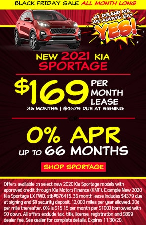 Lease: $169 per month for 24 months. $3,469 due at signing for select 2021 Kia Sportage LX