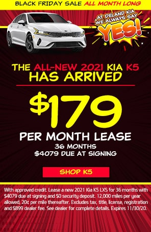 Lease: $189 per month for 36 months. $3,170 due at signing for select 2021 Kia K5 LXS