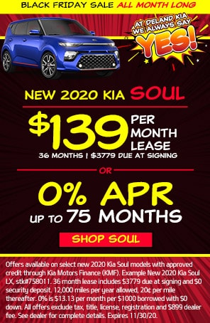 Lease: $169 per month for 36 months. $2,699 due at signing for select 2020 Kia Soul LX