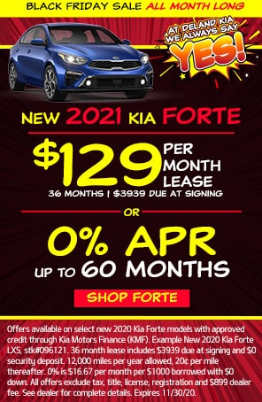 Lease: $149 per month for 36 months. $2,670 due at signing for select 2021 Kia Forte LXS
