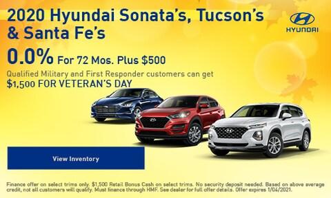 2020 Hyundai Sonata's, Tucson's & Santa Fe's
