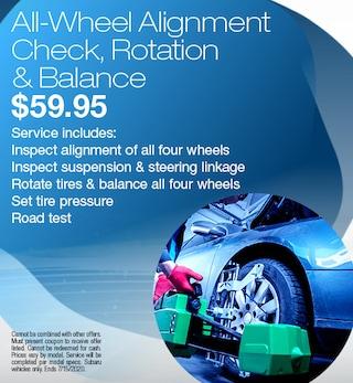 All-Wheel Alignment Check, Rotation & Balance