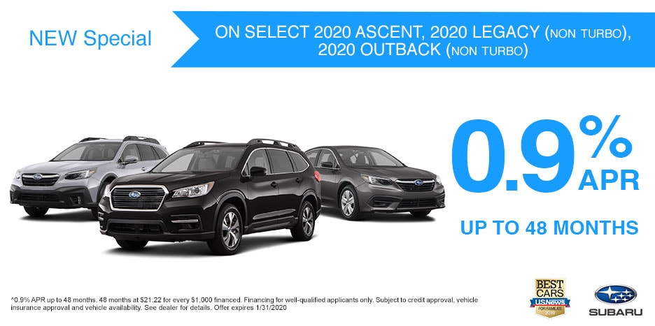 Ascent, Legacy, Outback - 0.9% APR