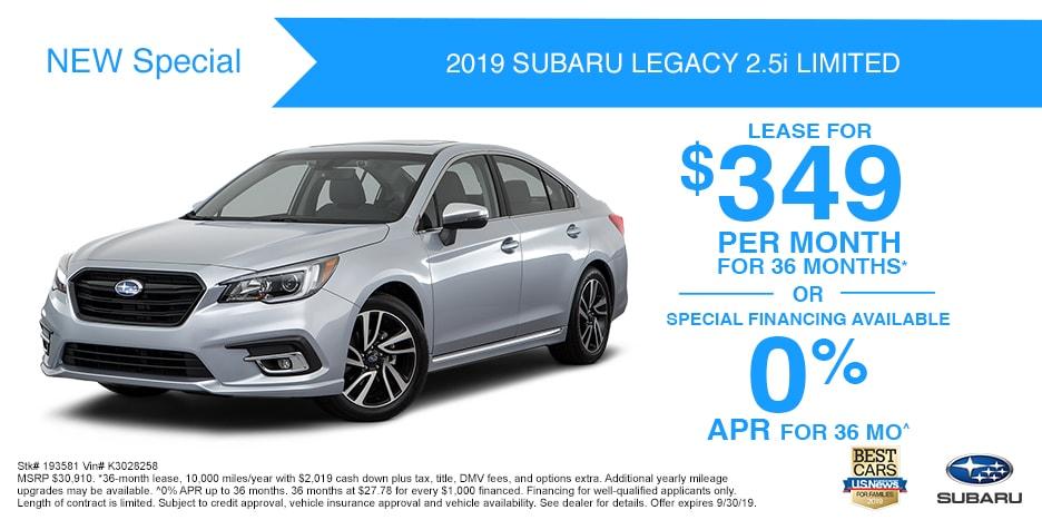 New 2019 Subaru Legacy2.5i Limited