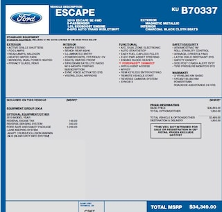2019 Ford Escape SE 1.5L ECOBOOST, LANE KEEPING SYSTEM, ADAPTIVE CRUISE, BLIND SPOT INFO SUV