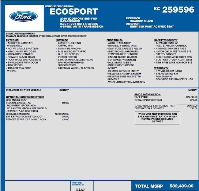 2019 Ford Ecosport: New 2019 Ford EcoSport For Sale In Wetaskiwin AB
