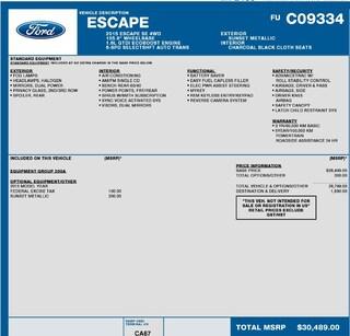2015 Ford Escape SE 1.6L ECOBOOST, CLOTH SUV