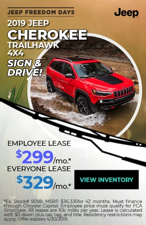 April 2019 Jeep Cherokee Lease Special