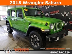 New Chrysler Dodge Jeep Ram models 2018 Jeep Wrangler UNLIMITED SAHARA 4X4 Sport Utility 1C4HJXEN3JW283845 for sale in Detroit Lakes, MN