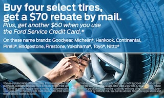 Buy 4 select tires, get a $70 rebate. + $60 when you use the Ford Service