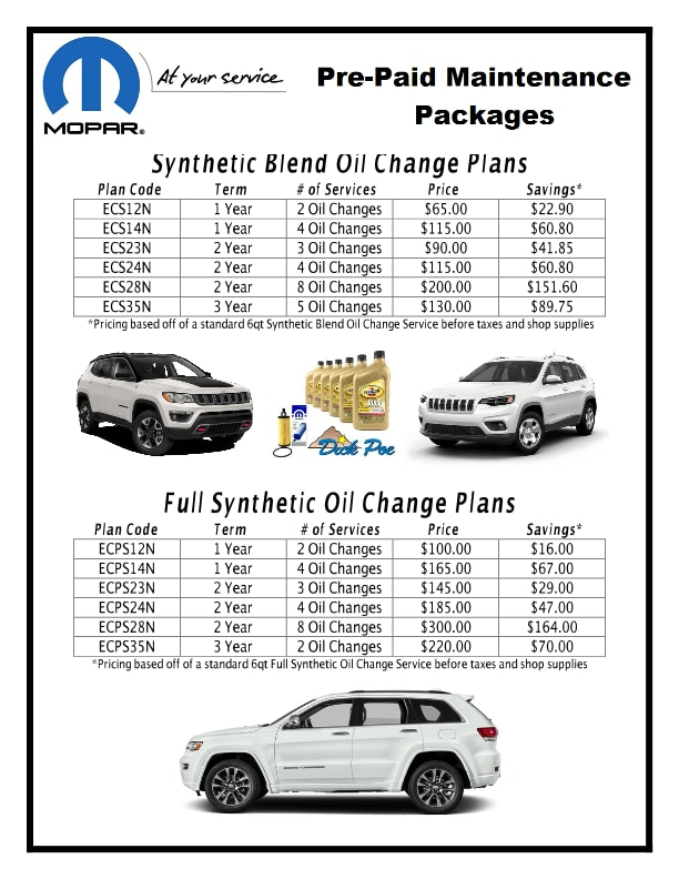 Service Specials Dick Poe Chrysler Jeep