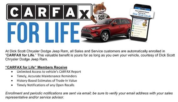 Carfax Customer Service >> Carfax For Life Dick Scott Chrysler Dodge Jeep Ram
