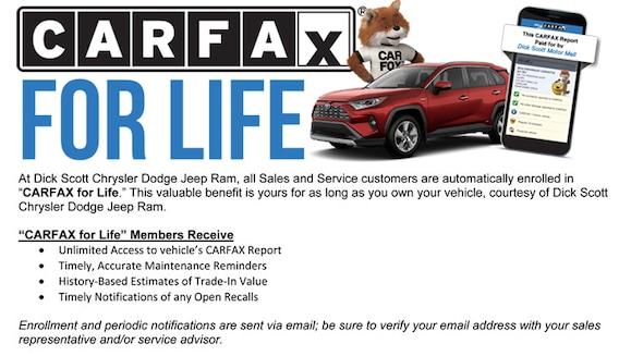 Carfax Customer Service >> Carfax For Life Dick Scott Motor Mall