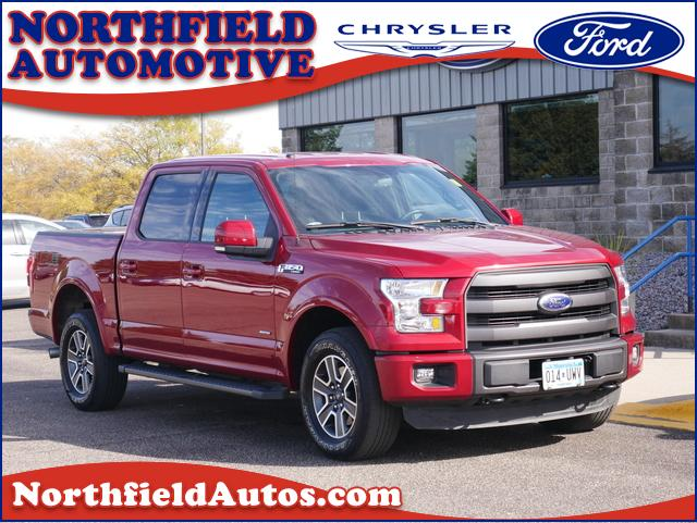 Featured used 2015 Ford F-150 4WD Supercrew 145 Lariat Truck 19277A for sale in Northfield, MN