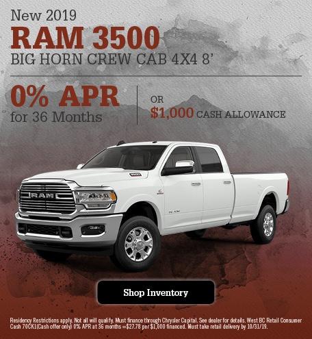 New 2019 Ram 3500 Big Horn Crew Cab 4x4 8'