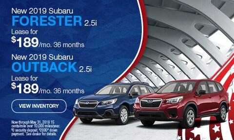 New 2019 Subaru Forester 2.5i & New 2019 Subaru Outback 2.5i