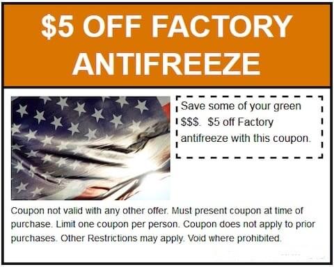 $5 Off Factory Antifreeze