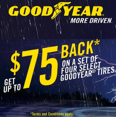 $75 Mail-in Rebate On Set of 4 Select Goodyear Tires