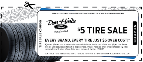 Cost To Mount And Balance Tires >> 5 Dollar Tire Sale Don Hinds Ford Inc