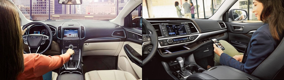 Ford Edge And  Toyota Highlander Interior Side By Side Image